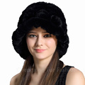 CX-C-195W Hand Knitted Scarf Decoration Genuine Rabbit Fur Winter Hat