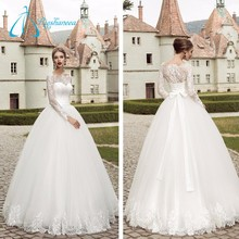 Empire Waistline Long Sleeve Lace Ball Gown Ivory Wedding Dress