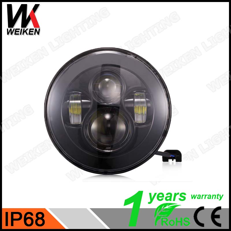 "DOT Approved 7"" Round LED Headlight 12v 24v for jeep wrangler jk harley motorcycle"