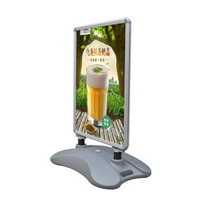A1 silver aluminum double sided poster frame for round floor display stand