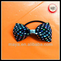 black spandex with silver heat seal dots mini bow pony tie hair holder with silver center
