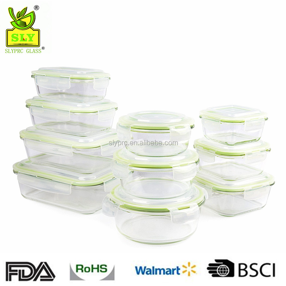 20 Piece Microwave Safe Glass Food Storage Container Set/Glass Meal Prep Container