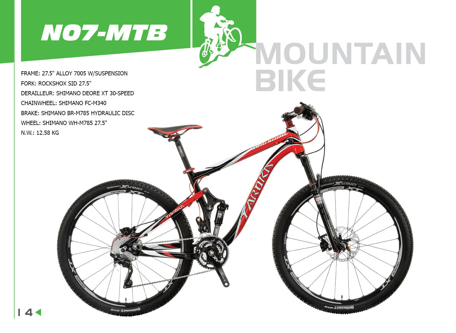 27.5 INCH KING KONG HIGH QUALITY DOUBLE WISHBONE SUSPENSION MOUNTAIN BIKE WITH DEORE XT 30 SPEED