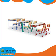 Wooden school furniture price list study single classroom desk and chair attached