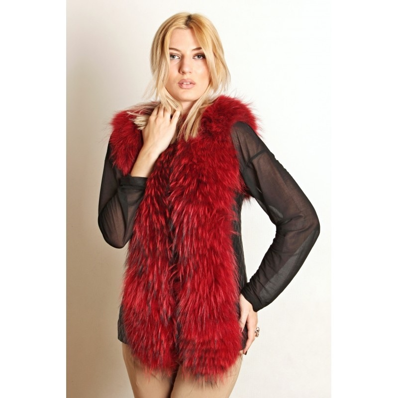 leather fur vest