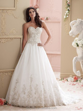 white satin ball gown sleeveless backless diamond wedding dress