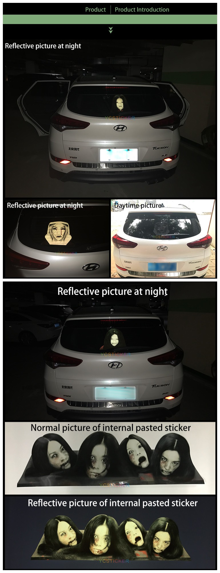 new design high beam ghost graphics 3m camouflage reflective car window tint film uv protection vinyl sticker