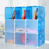 High Quality Blue Daisy Style Plastic Convenient Movable Bookcase