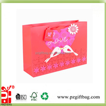 glitter love red metallic paper gift bag