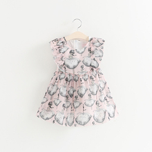 2017 Korean Cartoon Pattern New Model Girl Dress With Bowknot