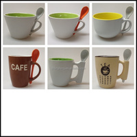 Drum Shape Ceramic Cups With Spoon, Inner Color Outside White Ceramic Mugs With Spoon!!!