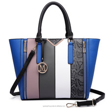 LT6624 2018 NEW ARRIVAL MISS LULU PANELLED STRIPE PANEL DESIGN TOTE HANDBAG with Cross Body Strap Supplied by GUANGZHOU FACTORY