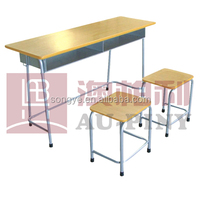Double Student Desk&Chair,Wooden Student Desk and Chair,Classroom Furniture