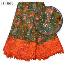 new york wholesale fabric lace embroidery lace african net lace fabric with rhinestone