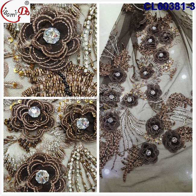 Newest style french tulle net embroidery lace with stone fabric for wedding or evening party dress