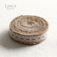 "0.9"" Wide Natural Hessian Jute Lace Roll Ribbon Burlap Fabric with Lace Trim For Rustic Vintage Party Home Wedding Decoration"