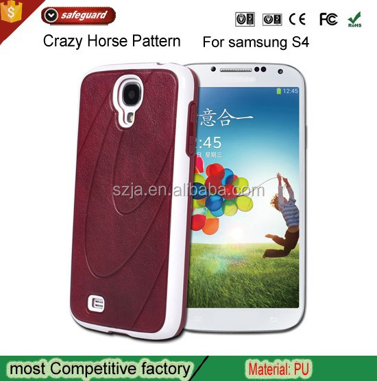 Crazy Horse Pattern Smart Phone PU Leather Case For Samsung Galaxy I9500 S4