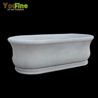 Hand Carved White Marble Artificial Stone Bathtub