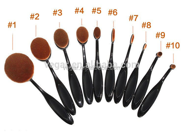makeup eyeliner brush toothbrush style 10pcs oval makeup brush set facial cleaning brush
