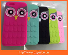 Silicone 3D Cute OWL Cartoon Cell Phone Case For IPHONE 5 6 AND 6 PLUS