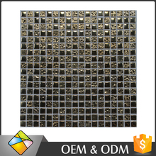 India Style 15x15mm Luxurious Dark Gold Glass Mosaic Tile For Sale