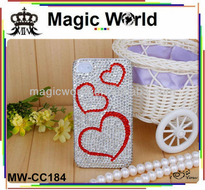 wholesale heart shaped rhinestone mobile phone case for iphone 5 5s