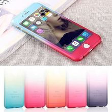 Luury Hybrid Tempered Glass 360 Degrees Full Body Phone Case for iPhone 5 6 6S 6S Plus SE 7 Gradient phone shell