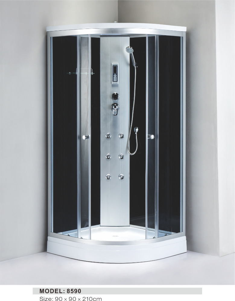china supply frameless steam shower room with dry sauna