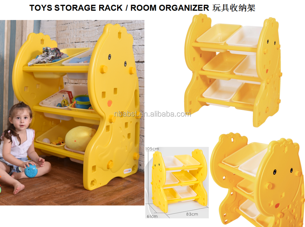 ABST Cartoon Deer Yellow 3Layers 6drawers Plastic Toys Storage Shelf,Toy Organizer,Toy Storage Bin Rack