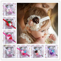 New Fashion Europe Style Baby Hair Bands With CZ Diamond Chiffon Infant Hair Accessories For Toddle Wear HA40827-39