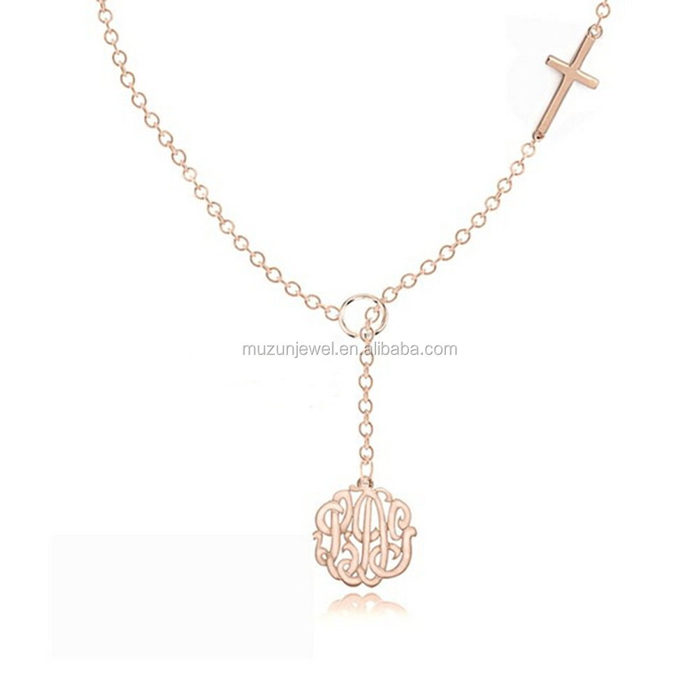925 sterling silver Personalized Lariat Necklace with Monogrammed Initials Charm and Sideways Cross
