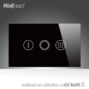 Best Products Wallpad LED Black Crystal Glass Panel 110~250V US/Australia Standard Touch Time Delay Wall Light Switch