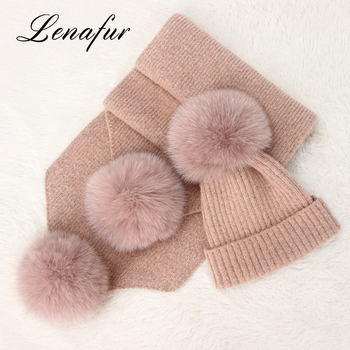 Best Choose Factory Supply Beanie Winter Fox Fur Pom Pom Wool Blend Hat