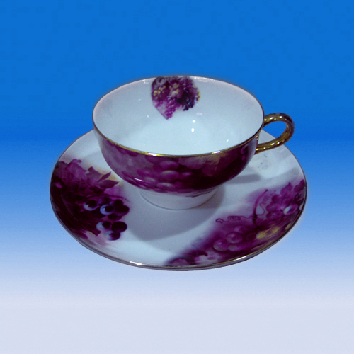 5oz 160ml mid east gold plated handle bone china tea cup saucer set purple flower decal elegant tea cup and saucer
