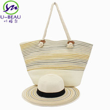Wholesale paper Tote Outdoor Summer Handbag Rattan Straw Beach Towel Carry Bag MLE17-285-B