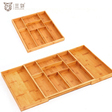 Adjustable bamboo wooden kitchen drawer cutlery tray