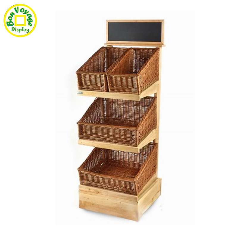Retail store wooden flooring display rack with bamboo basket
