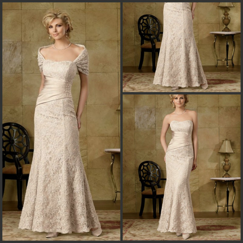 2014 New Design Custom Made Caterina Satin Lace Mother Of The Bride Dresses With Jacket