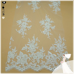 Hot sell vintage flower embroidery lace fabric textile with beads on DH-BF806