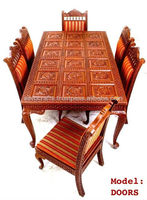 Indian Teak Wood Hand Carved Dining Room Set & Restaurant Furniture, Dining Table & Dining Chair (Rajasthani Carved Furniture)