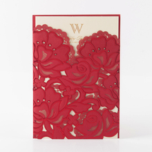 Most sold red flower laser cut wedding invitations