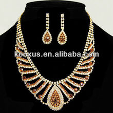 Gold Tone Topaz Rhinestone Wedding Bridal Necklaces and Earring Set arabic bridal jewelry sets