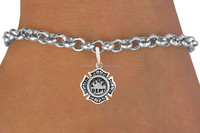 Alibaba wholesale antique silver plating metal zinc alloy bracelet with fire dept charms