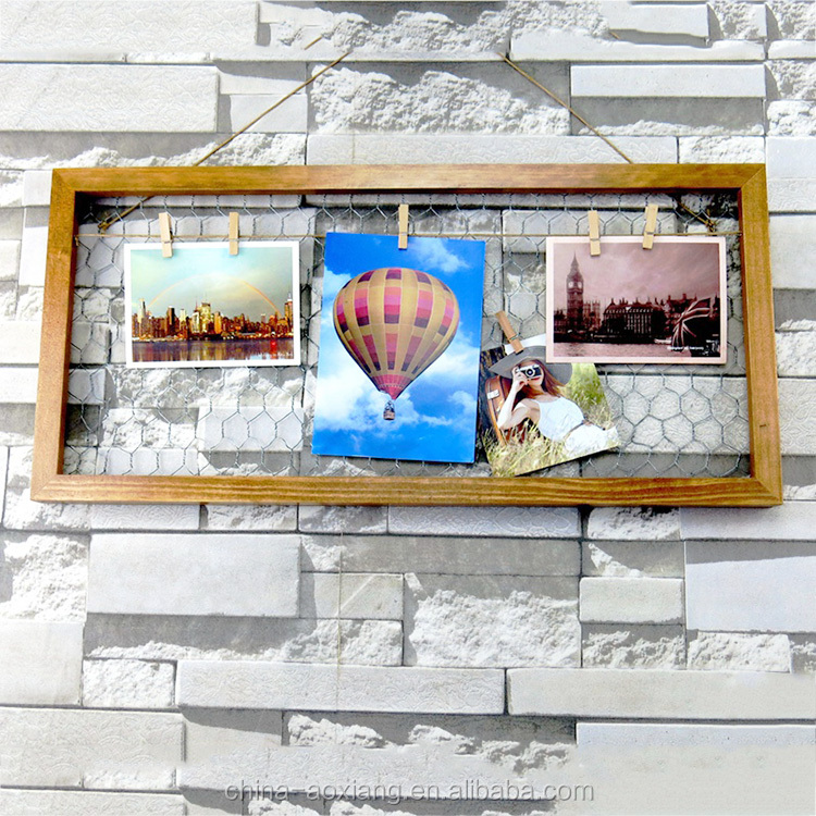 Pine wood rectangle photo frame 4 clips picture show plane frames
