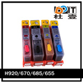 refillable for hp 670 ink cartridge for hp deskjet 3525 printer with auto reset chip