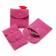 custom wholesale small flap ring necklace jewelry velvet pouch