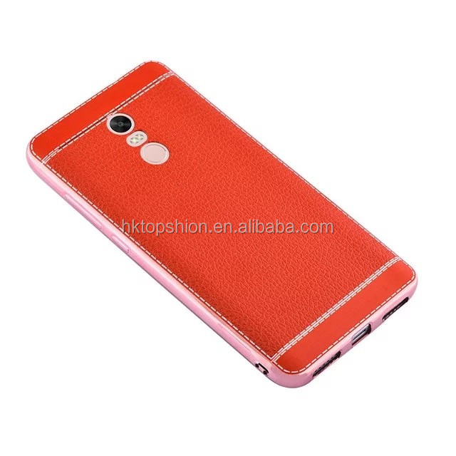 Hot sale for redmi note 4 tpu case back cover phone case with electroplating bumper frame litchi leather texture