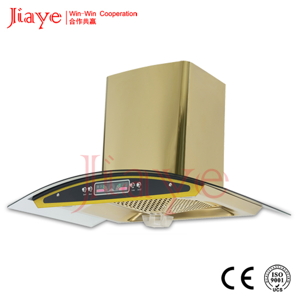 Unique Gold chimney made in china kitchen appliance range hood/cooker hoodJY-HZ9011