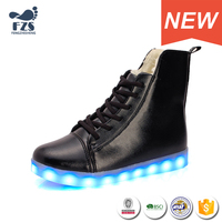 HFJH-106 high top warm led light ladies shoes for winter
