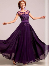 Alibaba Elegant Applique Long New Designer O Neck Hand Pearls Lace Beach Evening Dresses Or Bridesmaid Dress LE14